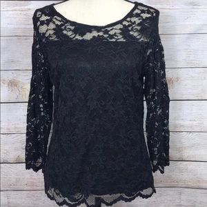 Alfani black lace top with lining.  Size L.